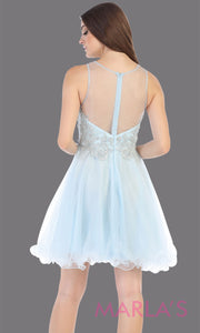 Back of Short high neck aqua blue grade 8 graduation dress with puffy skirt. This light blue illusion back ballerina dress is perfect for  grade 8 grad, homecoming, Bat Mitzvah, quinceanera damas, homecoming, junior bridesmaids