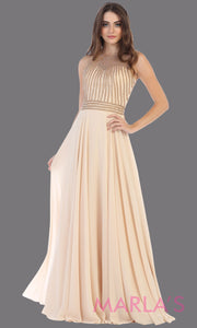 Long champagne high neck flowy dress with gold sequin beading.This flowy formal gown is perfect for gala event,plus size women, mother of the bride or groom, indowestern gown, modest gold dress, fancy party dress