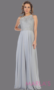 Long grey high neck flowy dress with silver sequin beading.This gray flowy formal gown is perfect for gala event,plus size women,mother of the bride or groom, indowestern gown, modest silver dress, fancy party dress