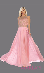 Long pink high neck flowy dress with gold sequin beading.This blush pink flowy formal gown is perfect for gala event, plus size women, mother of the bride or groom, indowestern gown, modest pink dress, fancy party dress