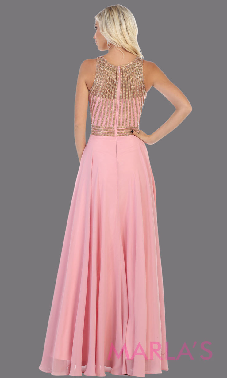 Back of Long pink high neck flowy dress with gold sequin beading.This blush pink flowy formal gown is perfect for gala event, plus size women, mother of the bride or groom, indowestern gown, modest pink dress, fancy party dress