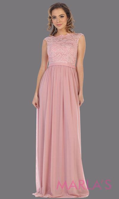 Long flowy dusty rose dress with off shoulder lace top.This simple gown is perfect for bridesmaid dresses,plus size women, simple evening gown, gala dress,mother of the bride dress, indowestern gown,destination wedding