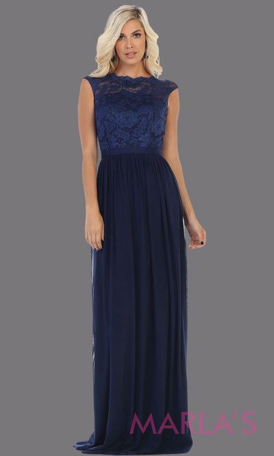 Long flowy navy blue dress with off shoulder lace top.This simple gown is perfect for bridesmaid dresses,plus size women, simple evening gown, gala dress,mother of the bride dress, indowestern gown,destination wedding