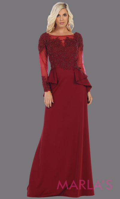 Long flowy burgundy evening dress with lace long sleeves and peplum dress. This is perfect for mother of the bride or groom dress,dark red modest evening gown,muslim party dress, indowestern party gown.Plus sizes avail.