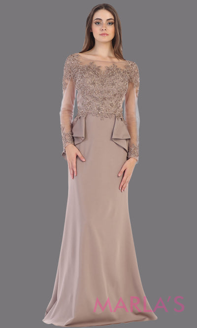 Long flowy mocha evening dress with lace long sleeves and peplum dress. This is perfect for mother of the bride or groom dress, brown modest evening gown, muslim party dress, indowestern party gown. Plus sizes avail.