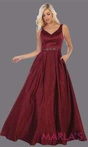 Long burgundy semi ball gown v neck with straps.This simple ballgown is perfect for formal gala party, dark red wedding reception dress, indowestern party dress, plus size ballgown, Sweet 15, Sweet 16, Quinceanera