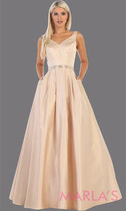 Long champagne semi ball gown v neck with straps.This simple ballgown is perfect for formal gala party, light gold wedding reception dress, indowestern party dress, plus size ballgown, Sweet 15, Sweet 16, Quinceanera