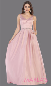 Long dusty rose semi ball gown v neck with straps.This simple ballgown is perfect for formal gala party, light pink wedding reception dress, indowestern party dress, plus size ballgown, Sweet 15, Sweet 16, Quinceanera