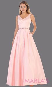Long light pink semi ball gown v neck with straps.This simple ballgown is perfect for formal gala party, baby pink wedding reception dress, indowestern party dress, plus size ballgown, Sweet 15, Sweet 16, Quinceanera