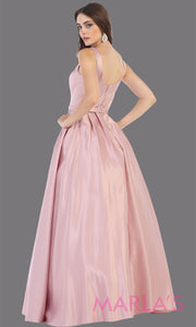 Back of Long dusty rose semi ball gown v neck with straps.This simple ballgown is perfect for formal gala party, light pink wedding reception dress, indowestern party dress, plus size ballgown, Sweet 15, Sweet 16, Quinceanera