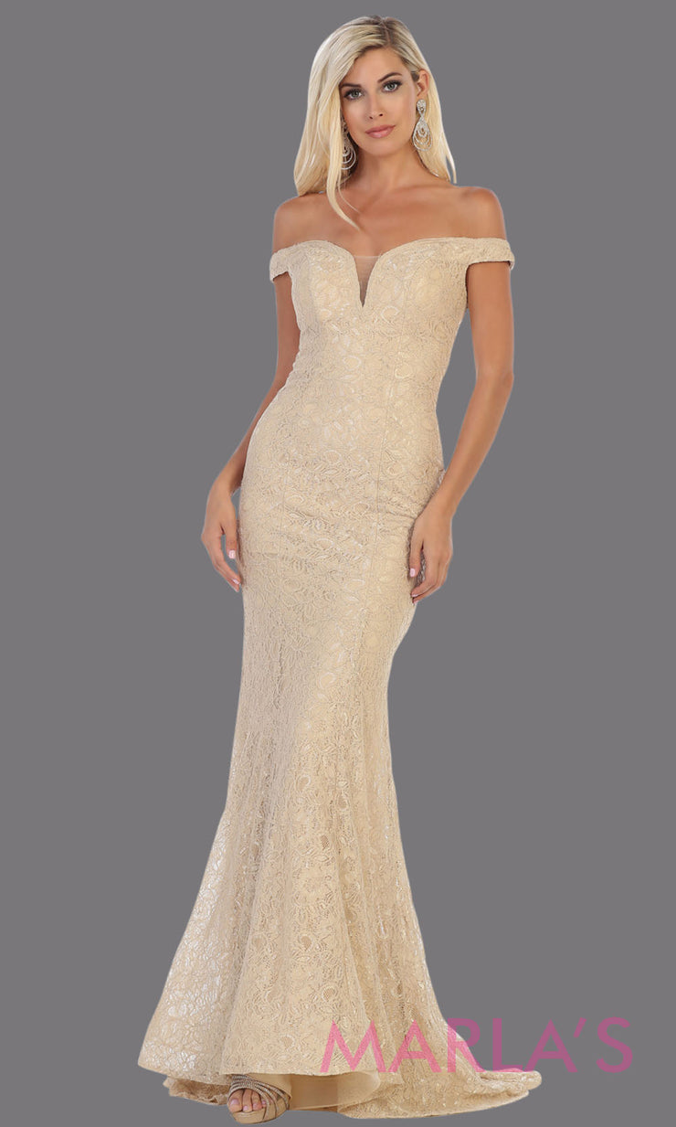 Long off shoulder champagne tight fitted lace evening gown.Sleek and sexy mermaid dress is perfect for bridesmaids,sexy long party dress, sexy wedding guest dress, mermaid plus size gown,light gold lace indowestern gown