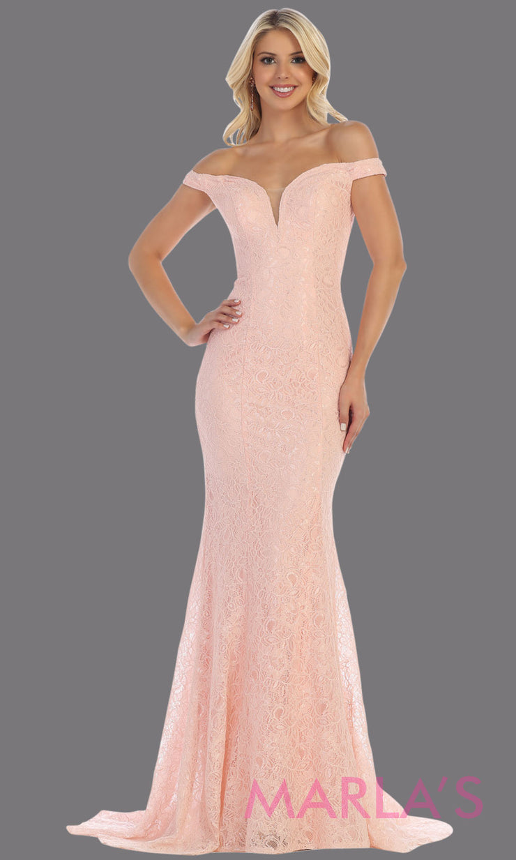 Long off shoulder tight blush pink lace evening gown. This pink sleek and sexy mermaid dress is perfect for bridesmaids, sexy long party dress, sexy wedding guest dress, mermaid plus size gown, dusty rose lace indowestern gown
