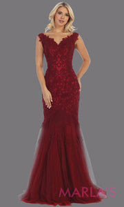 Long mermaid lace wedding v neck burgundy red dress.This corset back dark red lace evening gown is perfect for a formal wedding, wedding reception dress, wedding engagement gown,plus size formal dark red evening gown.