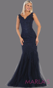 Long mermaid lace wedding v neck navy blue dress. This corset back dark blue lace evening gown is perfect for a formal wedding, wedding reception dress, wedding engagement gown,plus size formal navy blue evening gown.