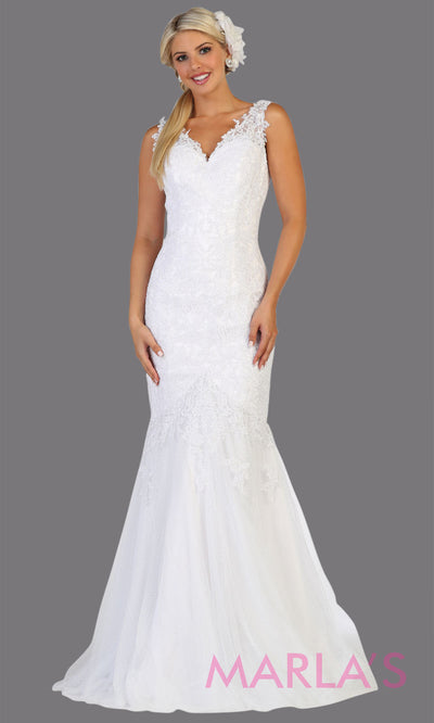 Long mermaid lace wedding v neck white dress. This corset back lace bridal dress is perfect for a civil wedding, court wedding, summer wedding, bridal dress with train, cheap wedding dress, plus size wedding dress.