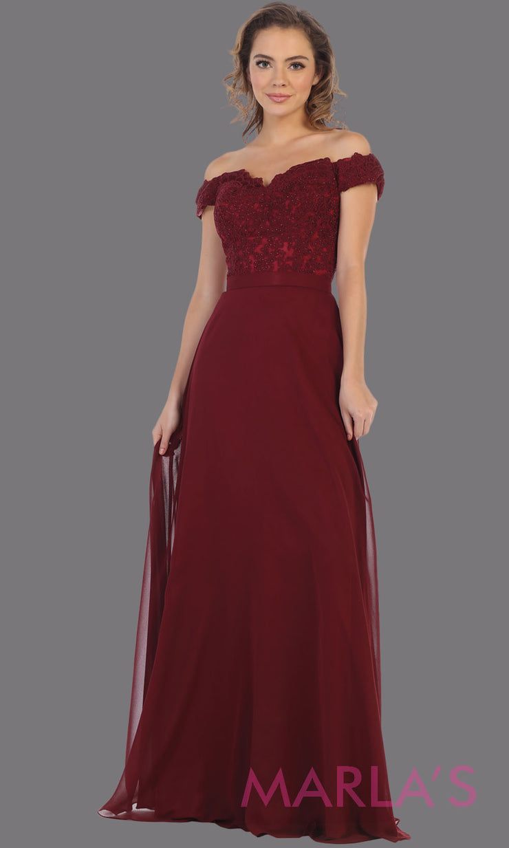 Long flowy burgundy red off shoulder dress with empire waist. This dark red gown is perfect for bridesmaids, simple wedding guest dress, formal party, plus size wedding guest dress, modest gown, indowestern gown