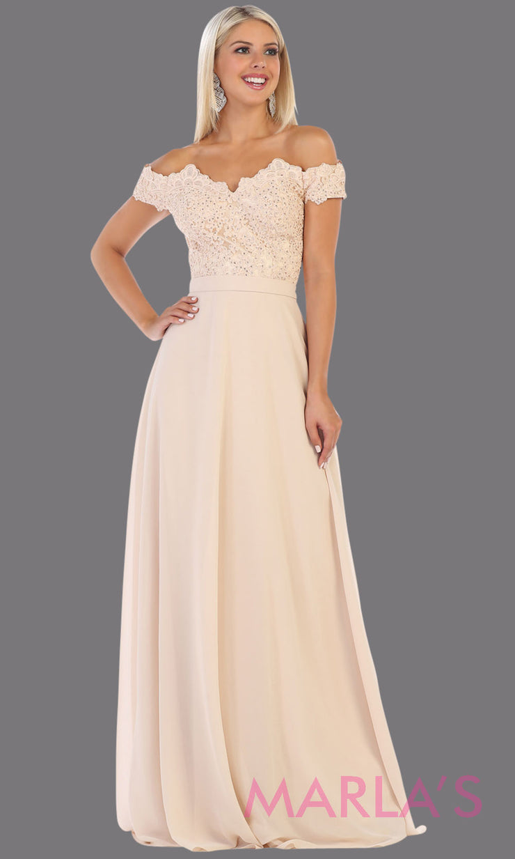 Long flowy champagne off shoulder dress with empire waist. This light gold gown is perfect for bridesmaids, simple wedding guest dress, formal party, plus size wedding guest dress, modest gown, indowestern gown