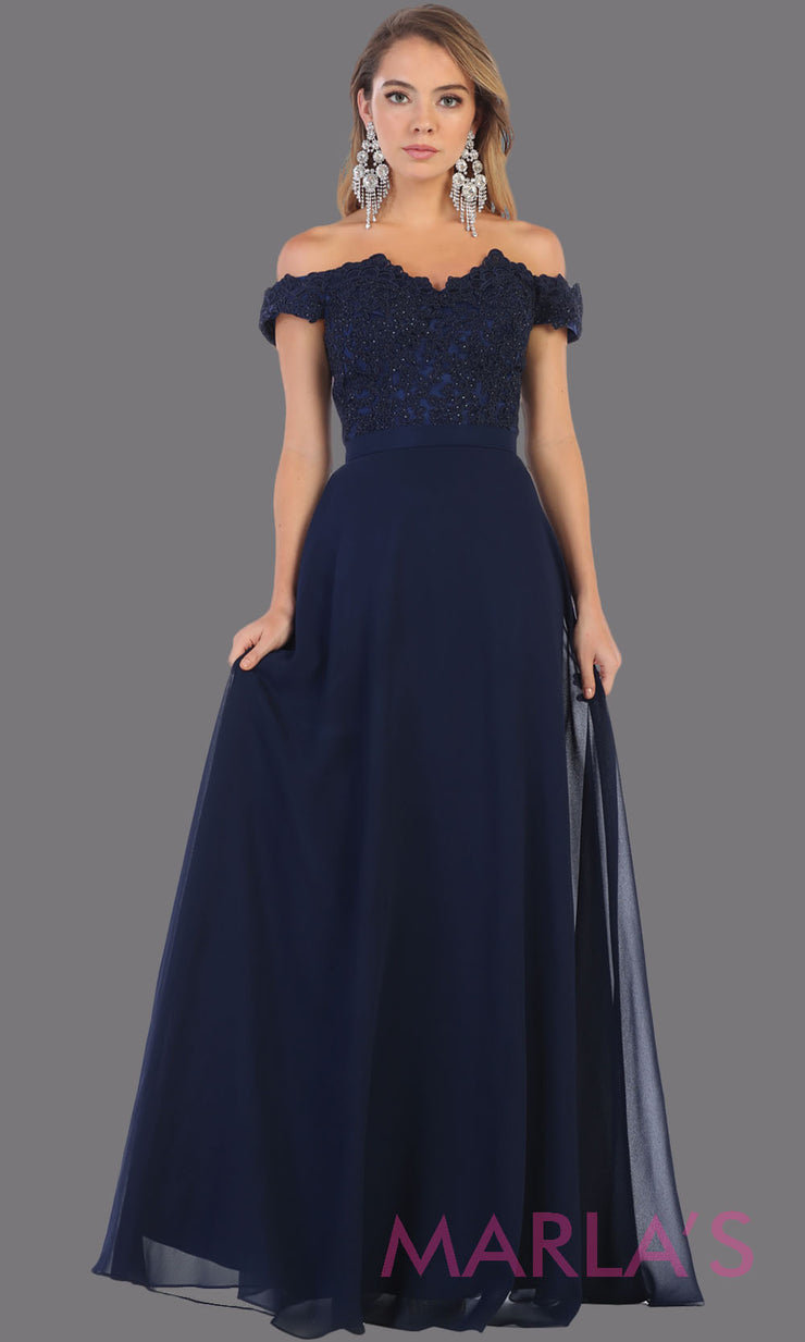 Long flowy navy blue off shoulder dress with empire waist. This dark blue gown is perfect for bridesmaids, simple wedding guest dress, formal party, plus size wedding guest dress, modest gown, indowestern gown