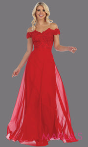 Long flowy red off shoulder dress with empire waist. This red gown is perfect for bridesmaids, simple wedding guest dress, formal party, plus size wedding guest dress, modest gown, indowestern gown