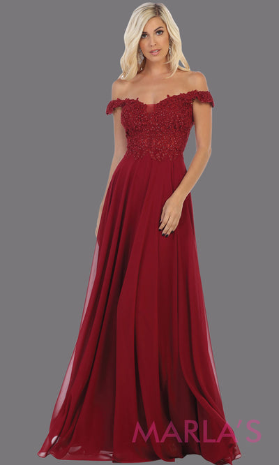 Long flowy burgundy off shoulder dress with corset and lace top. This dark red gown is perfect for bridesmaids, simple wedding guest dress, formal party, plus size wedding guest dress, modest gown, indowestern gown