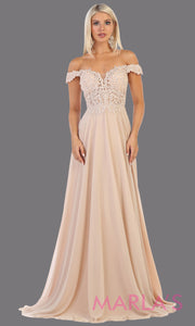 Long flowy champagne off shoulder dress with corset and lace top.This light gold gown is perfect for bridesmaids, simple wedding guest dress, formal party,plus size wedding guest dress, modest gown, indowestern gown