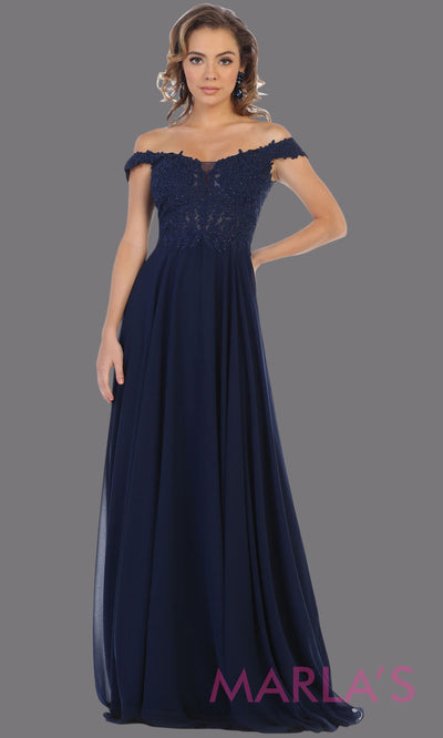 Long flowy navy blue off shoulder dress with corset and lace top. This dark blue gown is perfect for bridesmaids, simple wedding guest dress, formal party, plus size wedding guest dress, modest gown, indowestern gown
