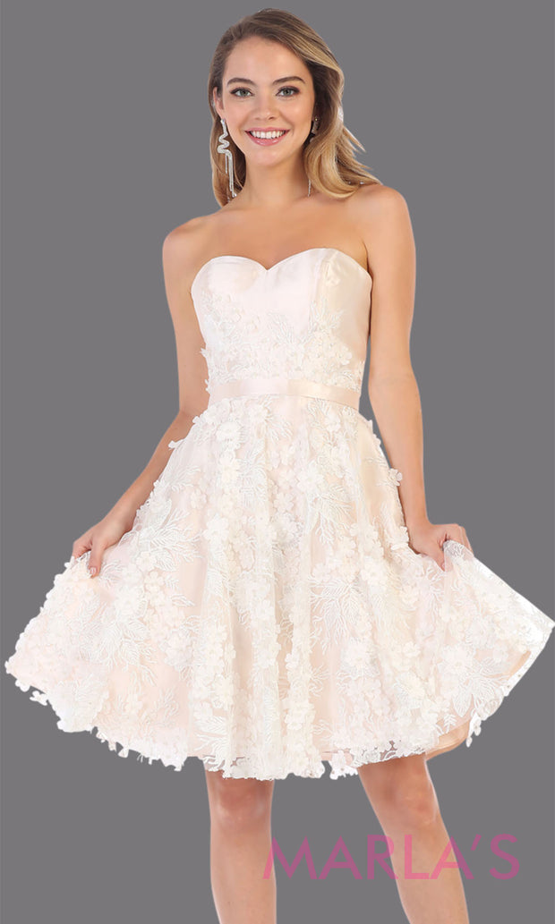 Short strapless pink grade 8 graduation dress with puffy skirt. This light pink ballerina dress with flowers is perfect for  grade 8 grad, homecoming, Bat Mitzvah, quinceanera damas, junior bridesmaids, plus sizes avail