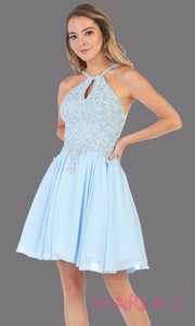 Short high neck aqua blue grade 8 graduation dress with flowy skirt. This light blue dress with lace top is perfect for  grade 8 grad, homecoming, Bat Mitzvah, quinceanera damas, junior bridesmaids, plus sizes avail