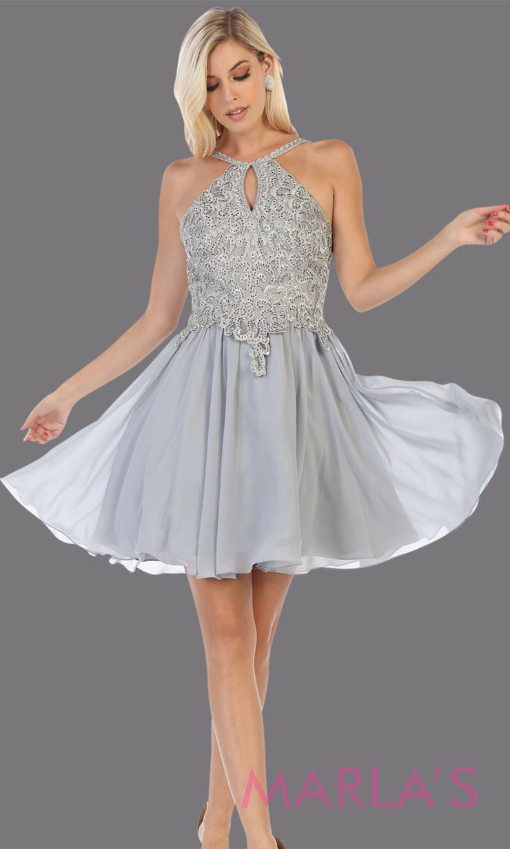 Short high neck grey grade 8 graduation dress with flowy skirt. This light gray dress with lace top is perfect for  grade 8 grad, homecoming, Bat Mitzvah, quinceanera damas, junior bridesmaids, plus sizes avail