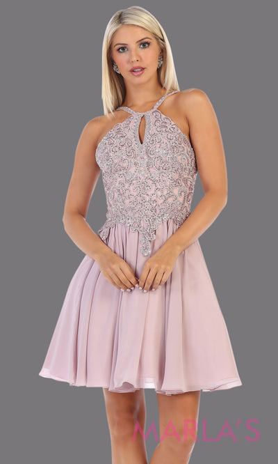 Short high neck mauve grade 8 graduation dress with flowy skirt. This light purple dress with lace top is perfect for  grade 8 grad, homecoming, Bat Mitzvah, quinceanera damas, junior bridesmaids, plus sizes avail