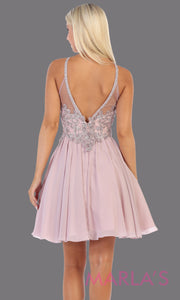 Back of Short high neck mauve grade 8 graduation dress with flowy skirt. This light purple dress with lace top is perfect for  grade 8 grad, homecoming, Bat Mitzvah, quinceanera damas, junior bridesmaids, plus sizes avail
