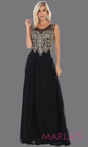 Long high neck black flowy dress with gold lace applique. This lace back black evening gown is perfect as a formal wedding guest dress, gala, indowestern gown fancy bridesmaid dress.Plus sizes available.
