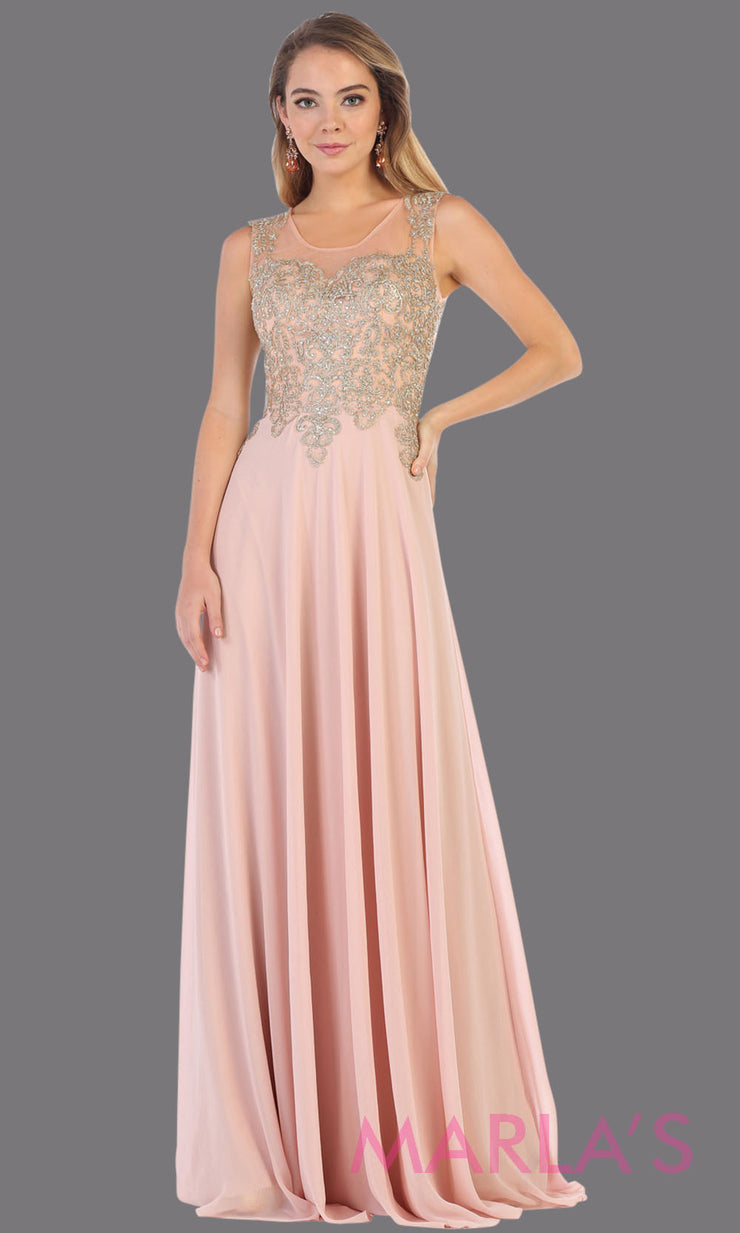 Long high neck dusty pink flowy dress with gold lace applique. This lace back light pink evening gown is perfect as a formal wedding guest dress, gala, indowestern gown fancy bridesmaid dress.Plus sizes available.