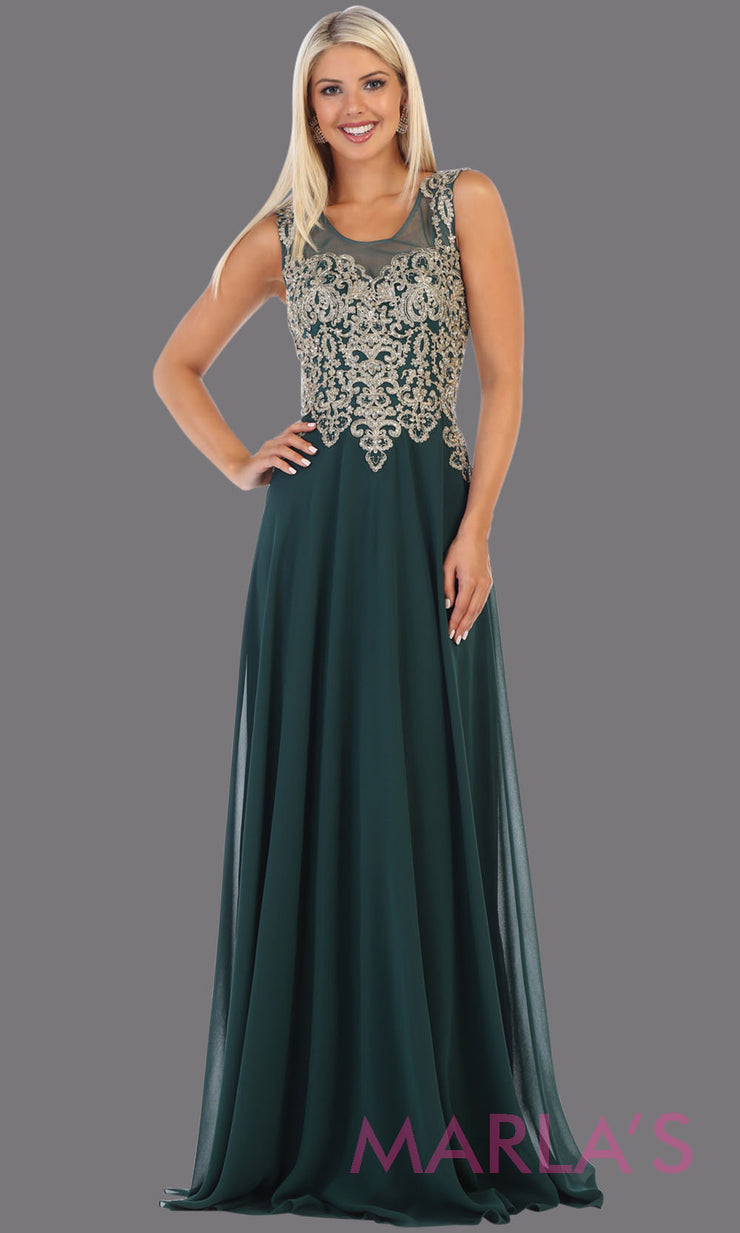 Long high neck hunter green flowy dress with gold lace applique. This lace back dark green evening gown is perfect as a formal wedding guest dress, gala, indowestern gown fancy bridesmaid dress.Plus sizes available.
