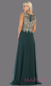 Back of Long high neck hunter green flowy dress with gold lace applique. This lace back dark green evening gown is perfect as a formal wedding guest dress, gala, indowestern gown fancy bridesmaid dress.Plus sizes available.