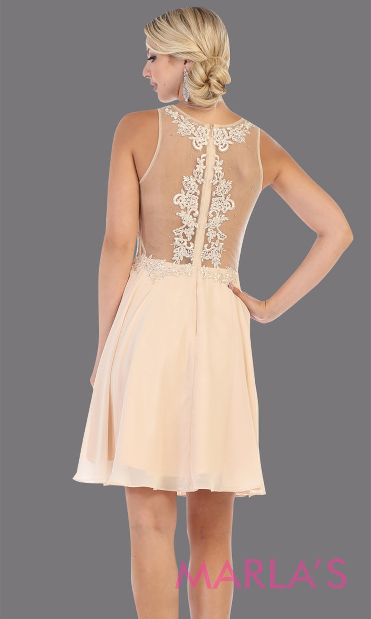 Back of Short high neck champagne grade 8 graduation dress with flowy skirt. This light gold illusion back ballerina dress is perfect for grade 8 grad, homecoming, Bat Mitzvah, quinceanera damas, middle school graduation, junior bridesmaids