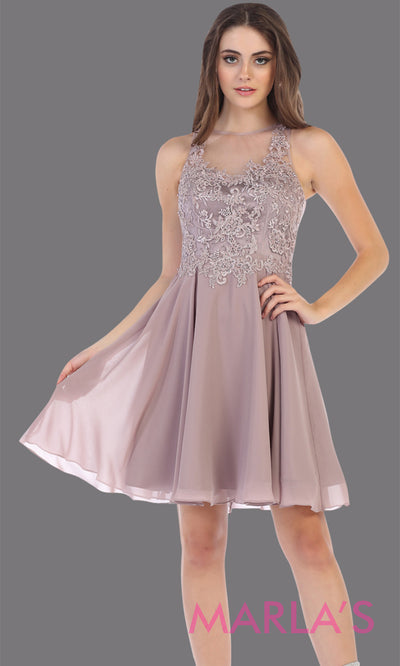 Short high neck mocha grade 8 graduation dress with flowy skirt. This mocha illusion back ballerina dress is perfect for grade 8 grad, homecoming, Bat Mitzvah, quinceanera damas, middle school graduation, junior bridesmaids