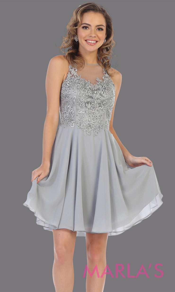 Short high neck silver grey grade 8 graduation dress with flowy skirt. This light grey illusion back ballerina dress is perfect for grade 8 grad, homecoming, Bat Mitzvah, quinceanera damas, middle school graduation, junior bridesmaids