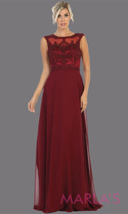 Long high neck burgundy red flowy dress with tone on tone beading. This lace back dark red evening gown is perfect as a formal wedding guest dress, gala, indowestern gown fancy bridesmaid dress.Plus sizes available.