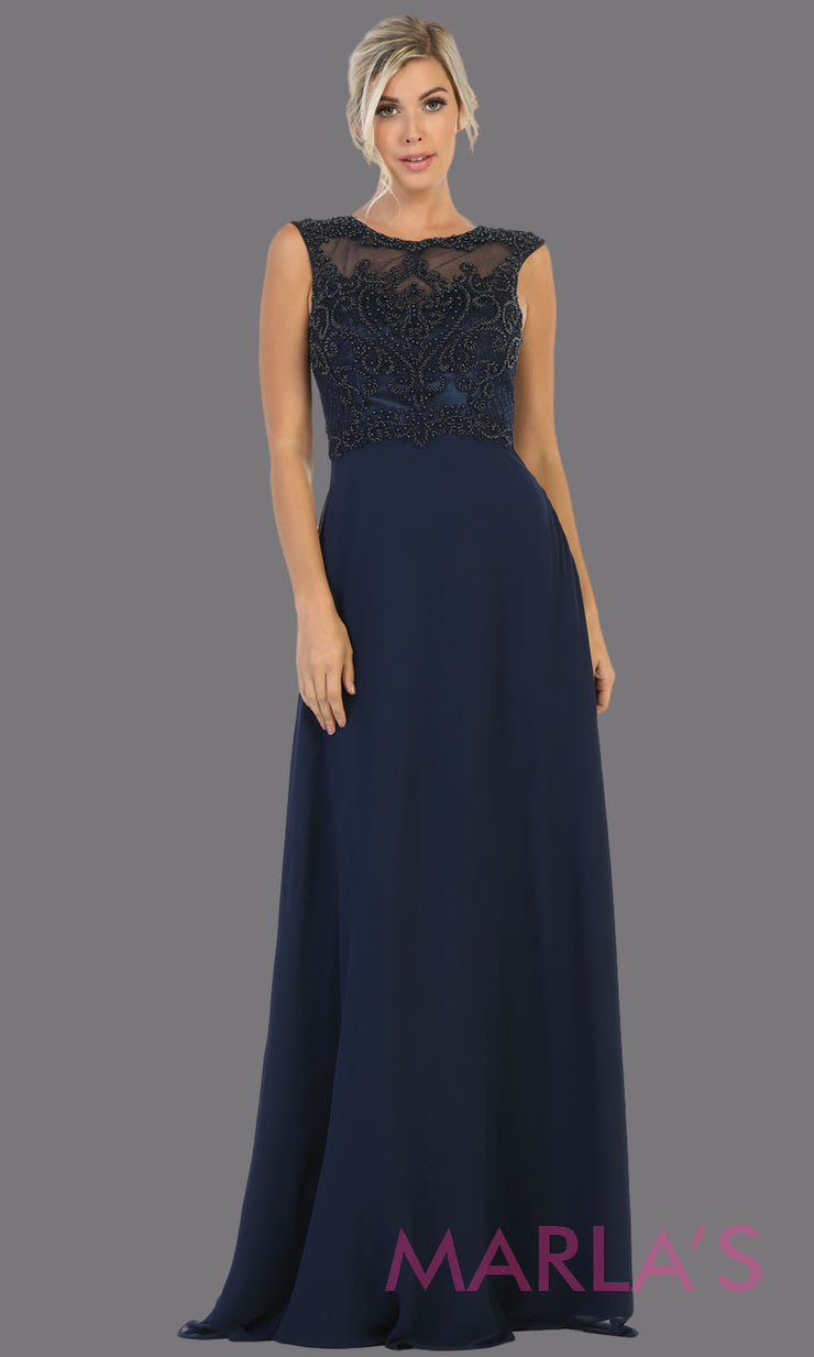 Long high neck navy blue flowy dress with tone on tone beading. This lace back dark blue evening gown is perfect as a formal wedding guest dress, gala, indowestern gown fancy bridesmaid dress.Plus sizes available.
