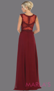 Back of Long high neck burgundy red flowy dress with tone on tone beading. This lace back dark red evening gown is perfect as a formal wedding guest dress, gala, indowestern gown fancy bridesmaid dress.Plus sizes available.