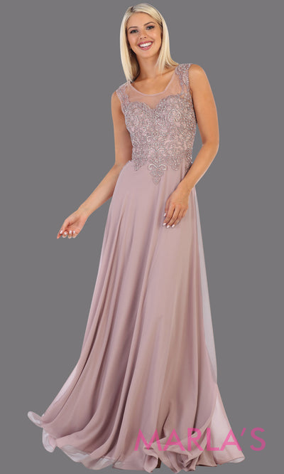 Long flowy mocha or dusty rose high neck dress with lace top. This mauve evening gown is perfect for bridesmaids, simple wedding guest dress, formal party, plus size wedding guest dress, modest gown, indowestern gown, mother of the bride.jpg
