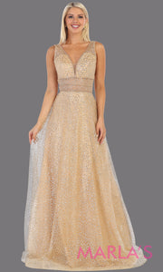 Long v neck glittery gold dress with wide straps and v neck. This flowy gold evening dress from mayqueen is perfect for engagment party dress, engagement photoshoot, prom, reception dress, indowestern party dress, formal gown, plus sizes
