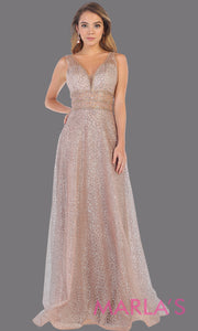 Long v neck glittery mauve dress with wide straps and v neck. This flowy evening dress from mayqueen is perfect for engagment party dress, engagement photoshoot, prom, reception dress, indowestern party dress, formal gown, plus sizes