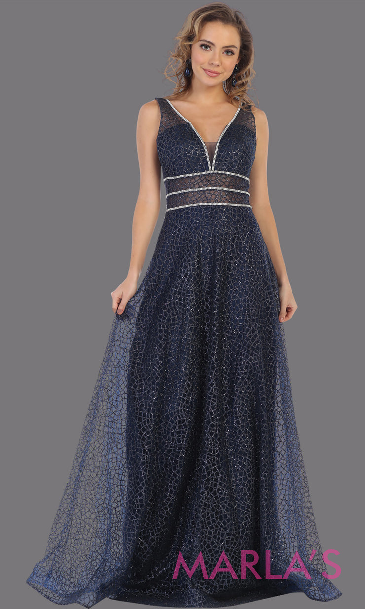 Long v neck glittery navy blue dress with wide straps and v neck. This dark blue flowy evening dress from mayqueen is perfect for engagment party dress, engagement photoshoot,prom,reception dress,indowestern party dress,formal gown,plus sizes