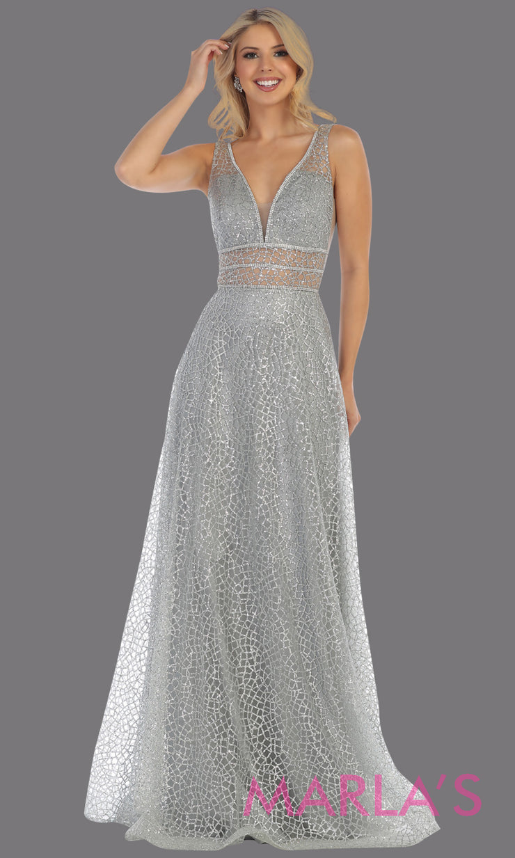 Long v neck glittery silver dress with wide straps and v neck. This gray flowy evening dress from mayqueen is perfect for engagement party dress, engagement photoshoot, prom, reception dress, indowestern party dress, formal gown, plus sizes
