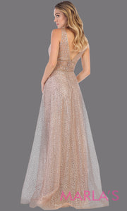 Back of Long v neck glittery mauve dress with wide straps and v neck. This flowy evening dress from mayqueen is perfect for engagment party dress, engagement photoshoot, prom, reception dress, indowestern party dress, formal gown, plus sizes