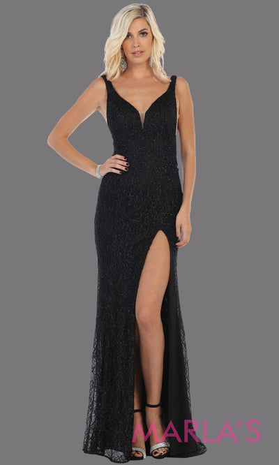 Long sleek & sexy black evening dress with high slit & low open back dress from mayqueen. This black fitted evening lace gown with high slit is perfect for prom, wedding guest dress, guest for prom, formal party, gala, black tie party