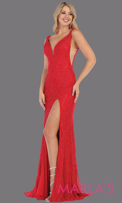 Long sleek & sexy red evening dress with high slit & low open back dress from mayqueen. This fire engine red fitted evening lace gown with high slit is perfect for prom, wedding guest dress, guest for prom, formal party, gala, black tie party