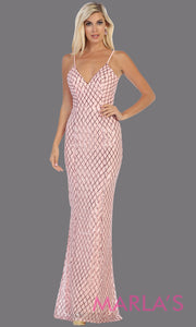 Long sleek & sexy blush pink evening dress with low open back & v neck dress from mayqueen. This light pink fitted evening shiny gown with open back is perfect for prom,wedding guest dress, guest for prom, formal party, gala, black tie party